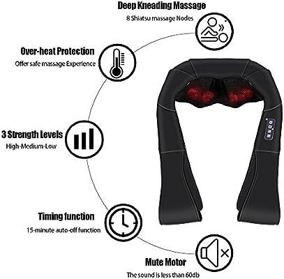 LUYAO Neck Shoulder Back Massager with Heat - shiatsu Neck Massager for Neck and Back with Heat deep Tissue 3D kneading Pillow 3 speeds