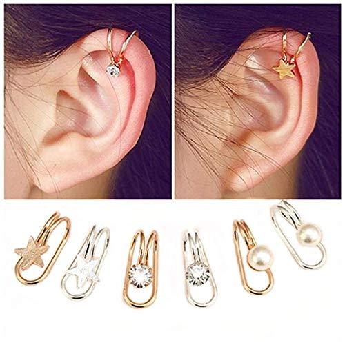 6 Pairs Ear Cuffs Non-Piercing Ear Bone Clip U-type Cartilage Ear Clip Ear Cuff Clip Wrap Set Valentine's Day Birthday Christmas Anniversary Gifts