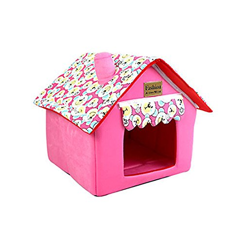 Foldable Pet House Pet Bed Dog Cat Soft Kennel Pink Size L - Cedar Dog House Package