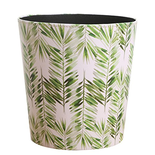 Paper Wastebasket Without Lid Fcoson PU Leather Round Decorative Trash Bin Garbage Can Dustbin for Hotel Dormitory Kitchen Bedroom Bathroom Office Green Leaves