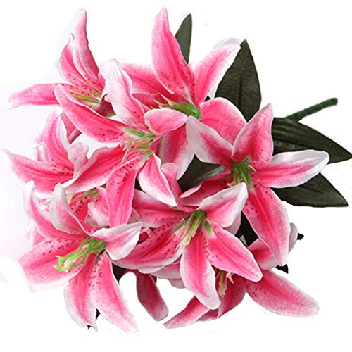 Artfen Artificial Lily 10 Heads Fake Lily Artificial Flower Wedding Party Decor Bouquet Home Hotel Office Garden Craft Art Decor Rose Red (Decor Stargazer Lily)