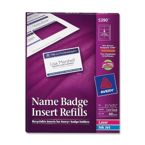 Avery - Plain Insert Badge Refill,Fits 2-1/4x3-1/2,400/BX,WE, Sold as 1 Box, AVE5390 Fits 2-1/4x3-1/2 Avery Dennison