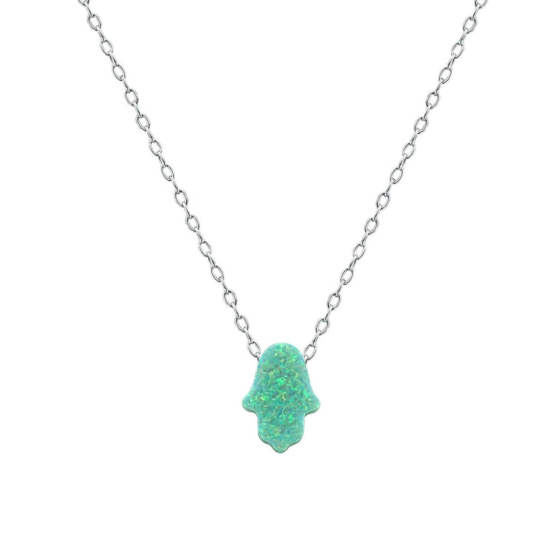 Cute Hamsa Hand Opal Pendants Necklace Choker Necklace opal Sterling Silver necklace for Women/Children
