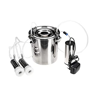 Milking Machine for Cow, Portable Electric Cow Milker Milking Machine with 2 Teat Cups, Adjustable Vacuum Pump, 5L Milk Container, Food Grade Hose (for Cow)