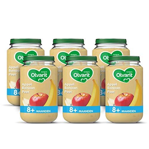Olvarit Appel, Banaan, Peer 8+ maanden fruithapje – 6x 200 gram