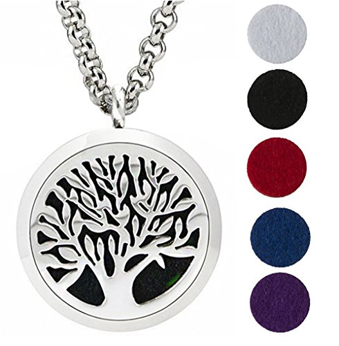 Tree of Life Aromatherapy Essential Oil Diffuser Necklace Stainless Steel Locket Pendant