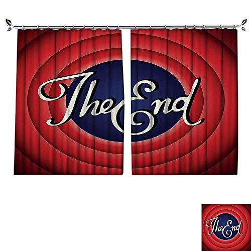 PRUNUS Curtain with Hook Movie Ending Screen Academy Broadcast Entertainment Show Oscar Cinema Frame Image Red Navy Blackout Draperies for Bedroom,W72 ()