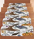 iPrint Non-Slip Carpets Stair Treads,Halloween Decorations,Magic Spells Witch Craft Objects Doodle Style Grunge Design Candle Skull,Multi,(Set of 5) 8.6''x27.5''
