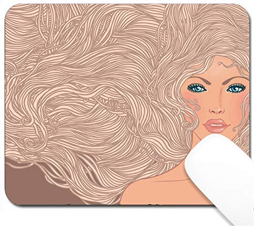 MSD Mouse Pad with Design - Non-Slip Gaming Mouse Pad - Image ID 24583929 Spa Fashion Beautiful Woman with Long Pink Hair