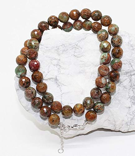 Beautiful African Turquoise Faceted Round Beads Necklace/Semi-Precious Gemstone Necklace/10MM Beads, Ready to wear by Gemswholesale