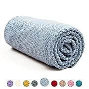 MiMiXiong Toddler Blankets Baby Knit Blankets For Boys and Girls (Blue)