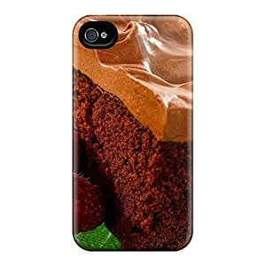 New Premium Flip Case Cover Nice Piece Of Chocolate Cake Skin Case For Iphone 4/4s