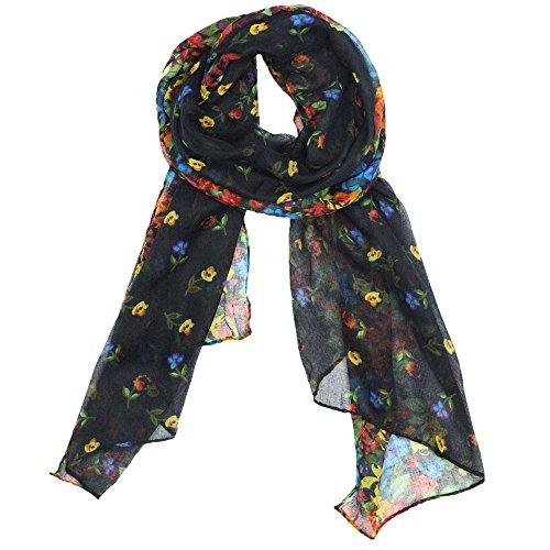 Kobwa(TM) Black Fashion Soft Paris Yarn With Flower Pattern Long Muffler Shawl Scarf Wraps +Kobwa's Keyring