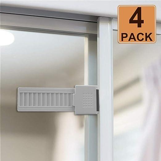Cerraduras de puerta de vidrio deslizantes OFUN, cerraduras de ventana deslizantes, seguro a prueba de bebés con fuerte adhesivo acrílico, diseño patentado, paquete de 4, color blanco: Amazon.es: Hogar