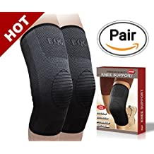 BQG Knee Support Compression Sleeve (2 count), Upgraded Knee Brace for Joint Pain & Arthritis Relief, Injury Recovery, Ultra durable for Running, weightlifting, Tennis, Basketball. with E-book