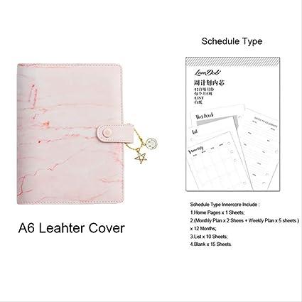 QWSAE notebookmármol rosa ligante libreta y diario A6 ...