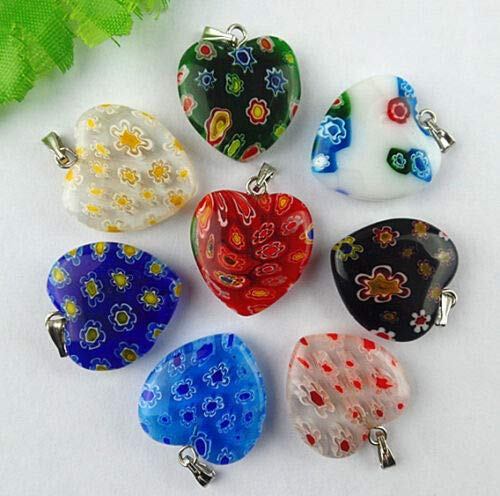TM 8pcs Beautiful Lampwork Glass Carved Heart Pendant Bead CB106 LeLeShop