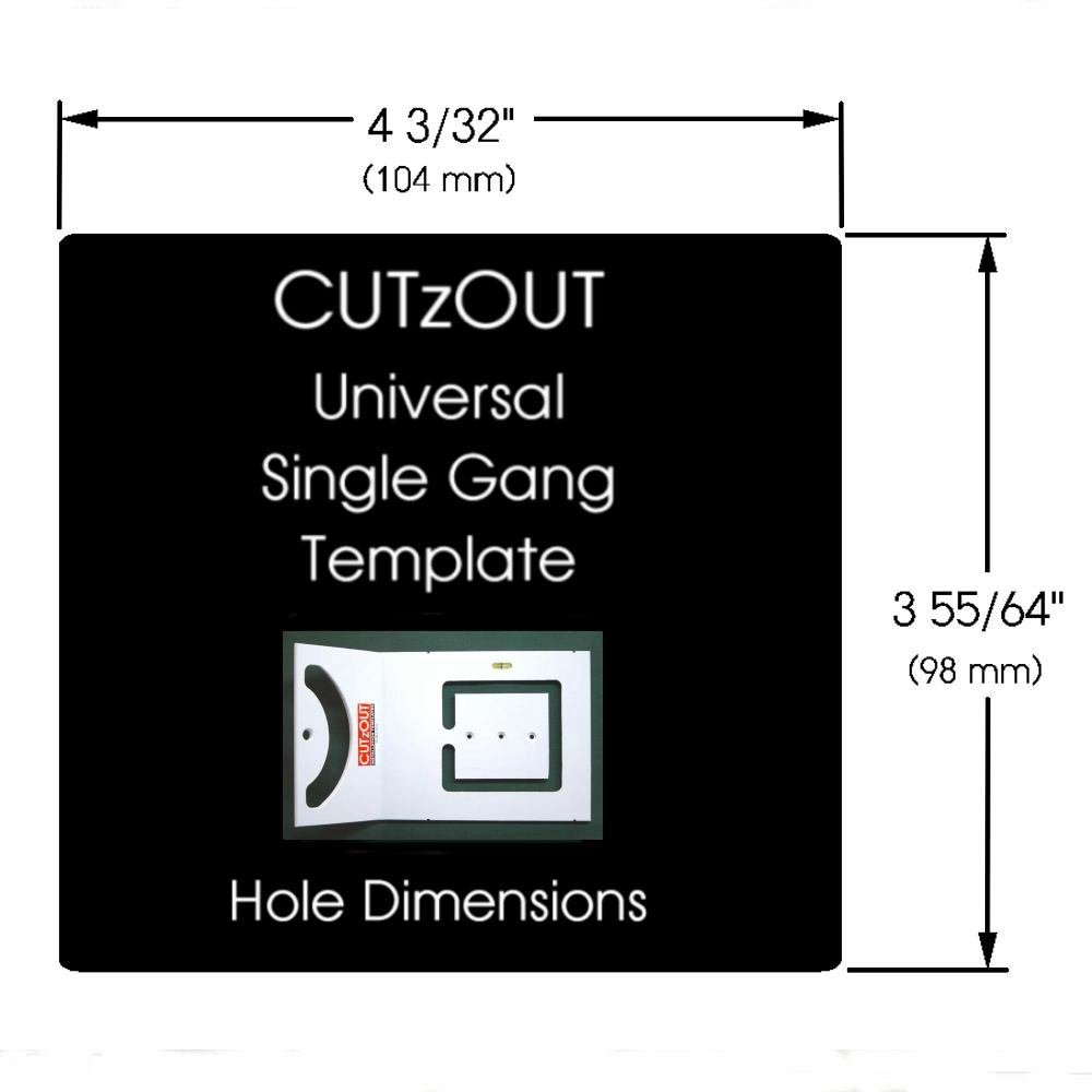 CUTzOUT Single and Double Gang New & Old Work Electrical Box and Low Voltage Box & Bracket Drywall Hole Cutter Templates with Attachment for Spiral Saws, Cut Out, and Rotary Tools by CUTzOUT Installation Templates (Image #7)