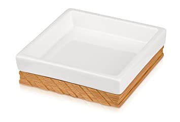 m/öve Ceramic /& Wood Zahnb/ürstenhalter 7,5 x 7,5 x 10,5 cm aus Keramik mit Bambus wood