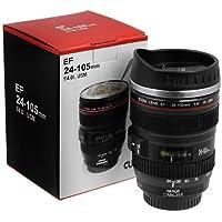 Inditradition Camera Lens Coffee Mug | Steel Insulated Travel Mug, Thermos (400 ML, Black)