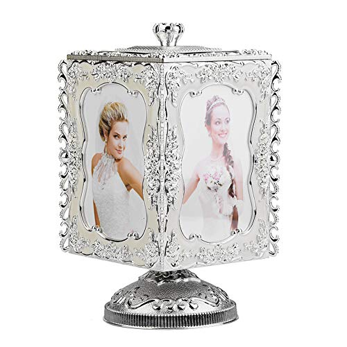 (Hilitand Music Box, Rotating Music Box 3R Photo Display Picture Frame Jewelry Storage Music Box Gift)