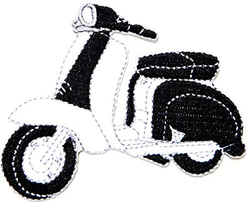 Vespa Lambretta Scooter Model Diecast Logo Badge Sign Biker Rider Mod Ska Jacket T-Shirt Vest Patch Hot fix Sew Iron on Embroidered Applique Sign Badge (Black&White (3.5