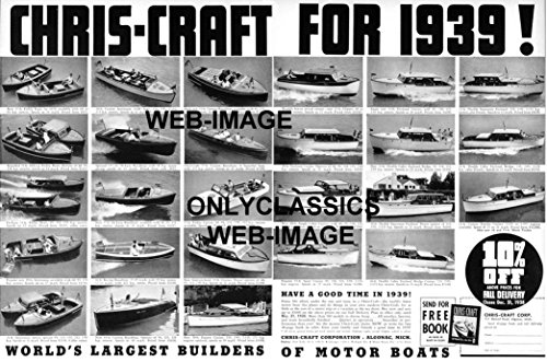 OnlyClassics 1939 Chris-Craft Wood Boat Mahogany Hulled Powerboats Advertising 12X18 Poster