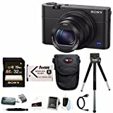 Sony Cyber-shot DSC-RX100 IV Digital Camera with Sony 32GB Class 10 UHS-1 SDHC up to 70MB/s Memory Card +Additional NP-BX1 Battery and Point & Shoot Accessory Bundle