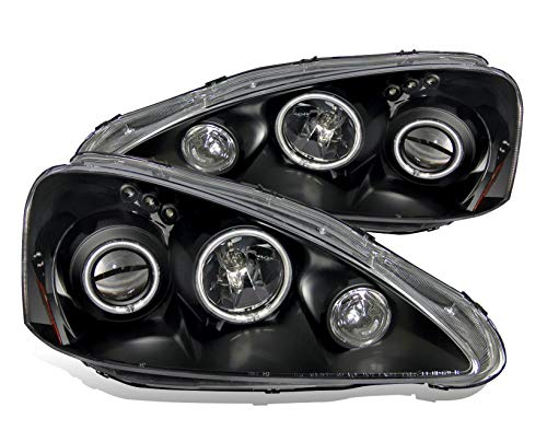 - SPPC Projector Headlights Black Assembly Set (CCFL Halo) For Acura RSX - (Pair) Driver Left and Passenger Right Side Replacement Headlamp