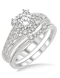 1.00 Carat Vintage halo floral Bridal Set Engagement Ring with Round Diamond in 10k white Gold