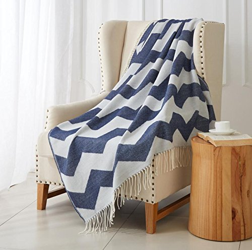 "Merrylife Decorative Knitted Throw Blanket (Large) Sofa, Couch, or Bedroom Décor | Breathable Warmth, Plush Acrylic Fabric | 50"" x 60"" Chevron-navy (Throws Sofa Navy For)"