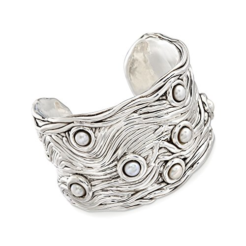 Ross-Simons 6-6.5mm Cultured Button Pearl Cuff Bracelet in Sterling Silver