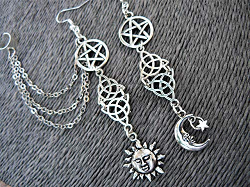 Pagan Earring Cuff Goddess Set Wiccan Five Elements (Goddess Ear Cuff)