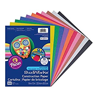 "SunWorks Construction Paper, 10 Assorted Colors,  9"" x 12"", 500 Sheets, PCON01500"