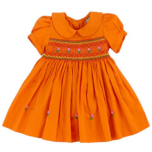 - sissymini - Infants & Toddlers Cotton Hand Smocked Dress Marmalade Sweetie- Tangerine Color Size 12M