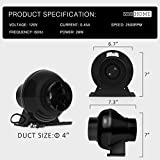 VIVOHOME 4 Inch 195CFM Plastic Round Exhaust Inline Duct Fan for Hydroponics Grow Tent Ventilation