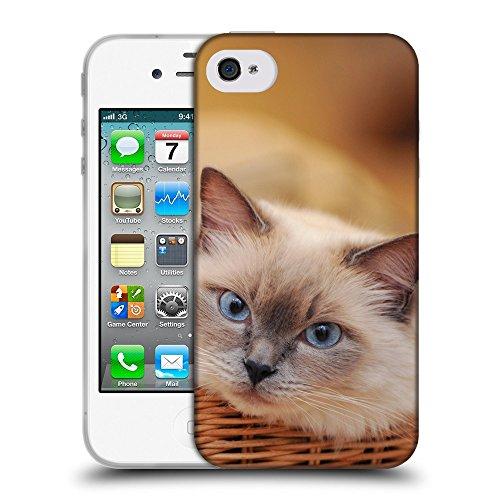 Just Phone Cases Coque de Protection TPU Silicone Case pour // V00004241 chat siamois dans le panier // Apple iPhone 4 4S 4G