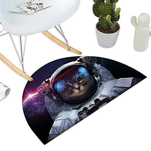 Space Cat Semicircular Cushion Cosmonaut Kitty in Galaxy Cosmos Nebula Stars with Eclipse Image Bathroom Mat H 23.6