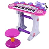 Costzon Pink Products Musical Kids 37 Key Electronic Keyboard Organ Piano Microphone Synthesizer Stool