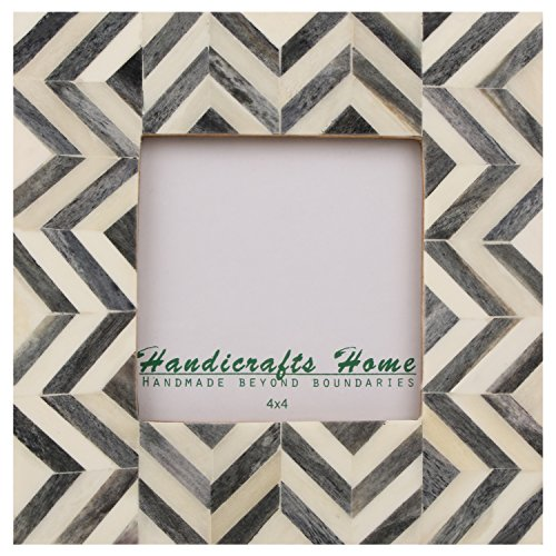 Picture Frames Photo Frame Chevron Herringbone Vintage Wooden Handmade Naturals Bone Classic Size 4x4 Inch (Grey)