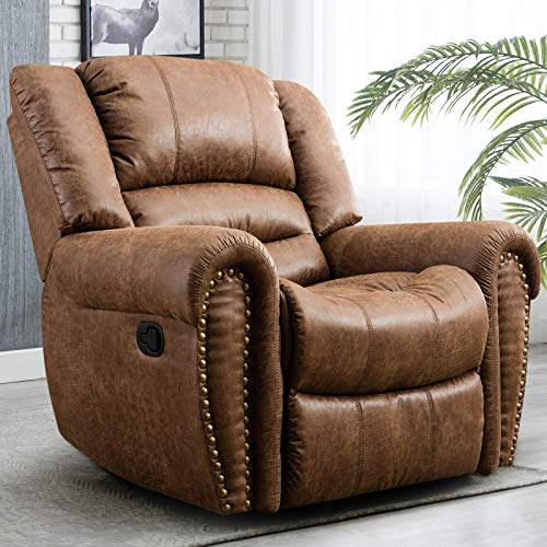 CANMOV Leather Recliner Chair, Classic and Traditional 1 Seat Sofa Manual Recliner Chair with Overstuffed Arms and Back, Nut Brown (Overstuffed Chairs Cheap)