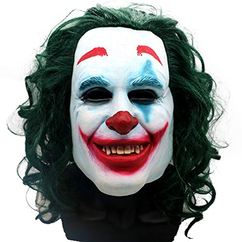 2019 Joker Movie Mask with Green Hair, Scary Clown Head Mask