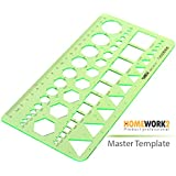 Master Template Plastic Geometric Ruler with 4 designs, 8.6 X 4.2 Inch, Green