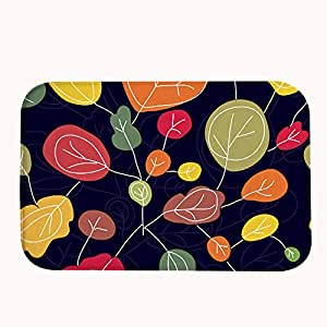 iandsang Colorful Leaves Pintura Decorativa Coral Fleece antideslizante Doormats – Alfombra y alfombrilla de absorción de agua 23.6 x15.7 ""
