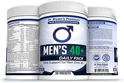 Men s Over 40 Daily Pack Vitamins Minerals, 42 Fruits and Vegetables, Digestive Enzymes, Spirulina, Wheat Grass, Fish Oil, Probiotics, Green Tea, Echinacea, Fiber, Kelp, Resveratrol, Plus
