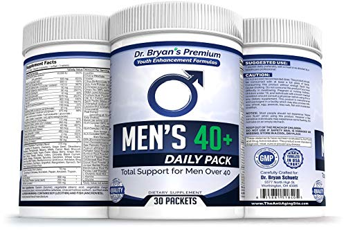 Men's Over 40 Daily Pack Vitamins Minerals, 42 Fruits and Vegetables, Digestive Enzymes, Spirulina, Wheat Grass, Fish Oil, Probiotics, Green Tea, Echinacea, Fiber, Kelp, Resveratrol, Plus! For Sale