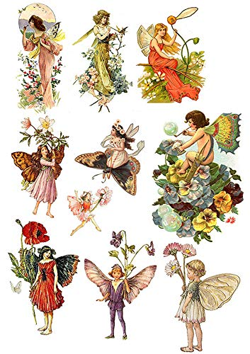 Fairies of Old - 89280 - Ceramic Decal - Enamel Decal - Glass Decal - Waterslide Decal - 3 Different Size Sheet (Images) to Choose from. Choose Either Ceramic (Enamel) or Glass Fusing Decals
