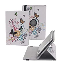 """Tsmine Acer Iconia One 7 (B1-780) 7"""" Case - Universal Rotary Protective Leather Case Stand Cover for Acer Iconia One 7 (B1-780) , Butterflies Floweres"""