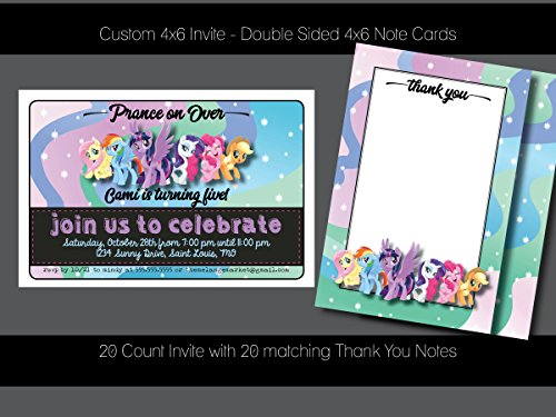 Custom Birthday Party Invitation - My Little Pony, with Matching Thank You Notes - 20 invites, 20 Thank You Notes - Personalized (Personalized My Little Pony Invitations)