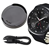 LG G Watch R W110 Charger, LG G Watch R W110 Charging Cradle Dock, AnoKe Replacement Portable Charging Docking Station Cradle Holder Dock + USB Cable Cord For (LG G WATCH R-W110)